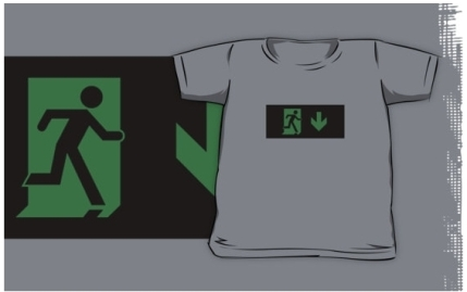Running Man Exit Sign Kids T-Shirt 90