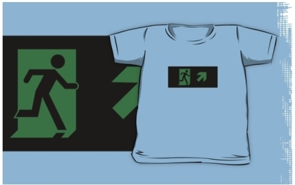 Running Man Exit Sign Kids T-Shirt 92