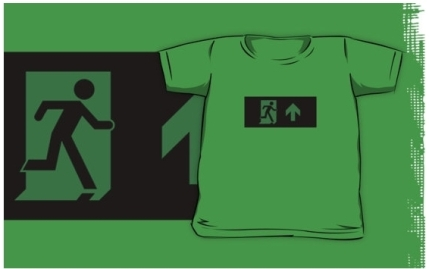 Running Man Exit Sign Kids T-Shirt 94