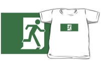 Running Man Exit Sign Kids T-Shirt 96
