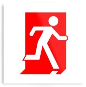 Running Man Exit Sign Printed Metal 1