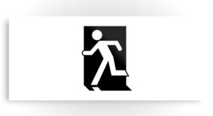 Running Man Exit Sign Printed Metal 102