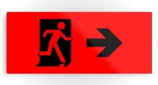 Running Man Exit Sign Printed Metal 104