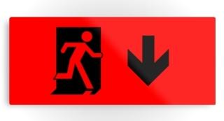 Running Man Exit Sign Printed Metal 107