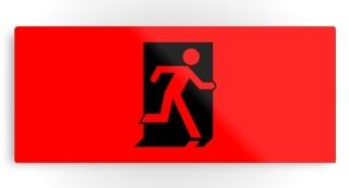 Running Man Exit Sign Printed Metal 108