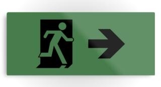 Running Man Exit Sign Printed Metal 116