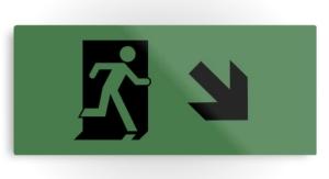 Running Man Exit Sign Printed Metal 118