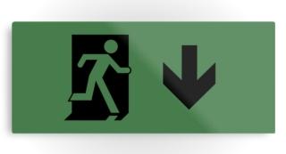 Running Man Exit Sign Printed Metal 119