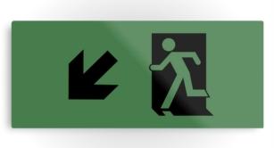 Running Man Exit Sign Printed Metal 123