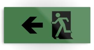 Running Man Exit Sign Printed Metal 124