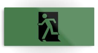Running Man Exit Sign Printed Metal 126