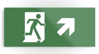 Running Man Exit Sign Printed Metal 21
