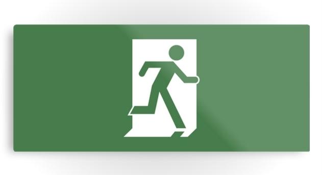 Running Man Exit Sign Printed Metal 24