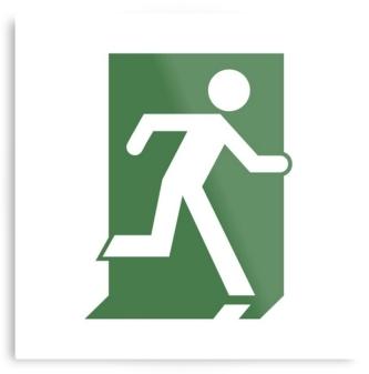 Running Man Exit Sign Printed Metal 3