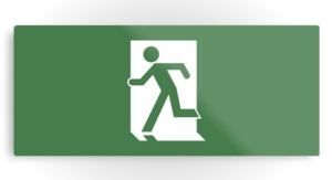 Running Man Exit Sign Printed Metal 30