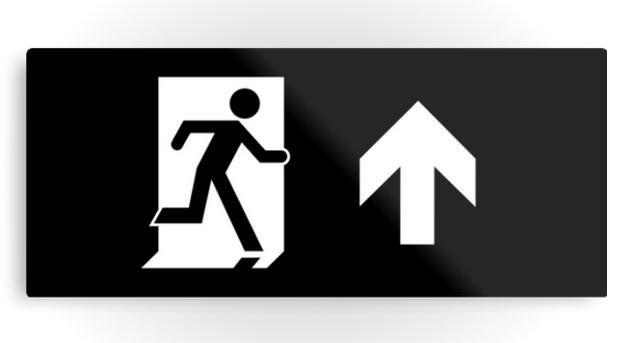 Running Man Exit Sign Printed Metal 31