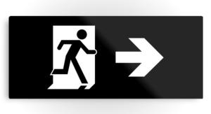 Running Man Exit Sign Printed Metal 32