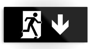 Running Man Exit Sign Printed Metal 35