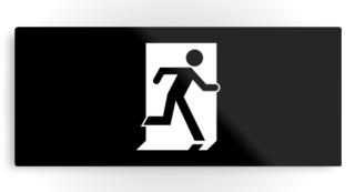 Running Man Exit Sign Printed Metal 36