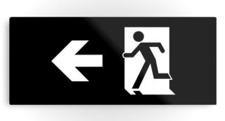 Running Man Exit Sign Printed Metal 38
