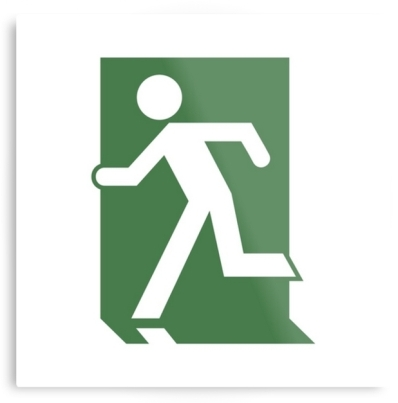 Running Man Exit Sign Printed Metal 4