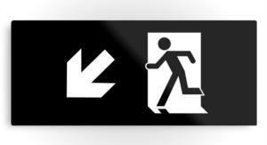 Running Man Exit Sign Printed Metal 40