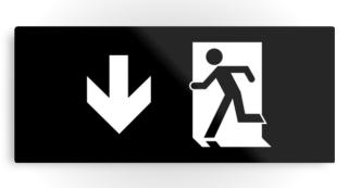 Running Man Exit Sign Printed Metal 41