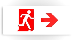 Running Man Exit Sign Printed Metal 44