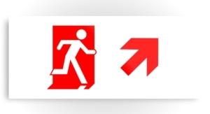 Running Man Exit Sign Printed Metal 45
