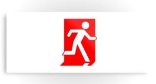 Running Man Exit Sign Printed Metal 48