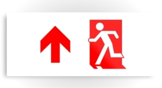 Running Man Exit Sign Printed Metal 49