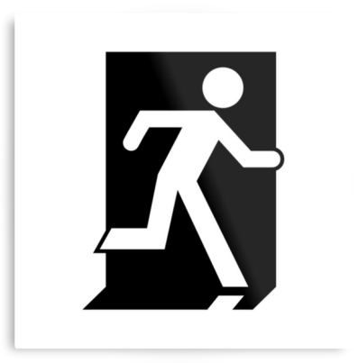 Running Man Exit Sign Printed Metal 5