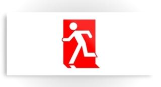 Running Man Exit Sign Printed Metal 54