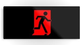 Running Man Exit Sign Printed Metal 55