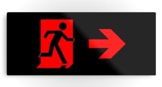 Running Man Exit Sign Printed Metal 57