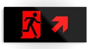 Running Man Exit Sign Printed Metal 58