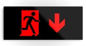 Running Man Exit Sign Printed Metal 60