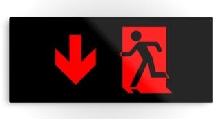 Running Man Exit Sign Printed Metal 65