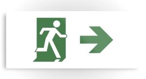 Running Man Exit Sign Printed Metal 68