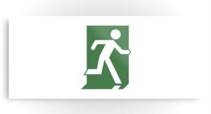 Running Man Exit Sign Printed Metal 72