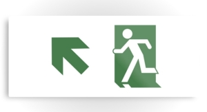 Running Man Exit Sign Printed Metal 75