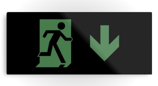Running Man Exit Sign Printed Metal 83
