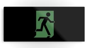 Running Man Exit Sign Printed Metal 84