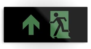 Running Man Exit Sign Printed Metal 85