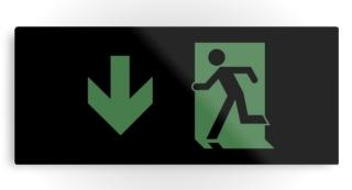 Running Man Exit Sign Printed Metal 88