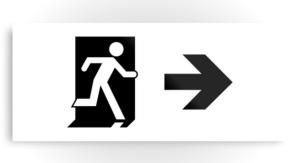 Running Man Exit Sign Printed Metal 92