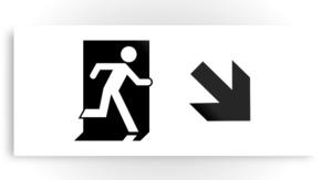 Running Man Exit Sign Printed Metal 94