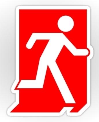 Running Man Exit Sign Sticker Decals 1