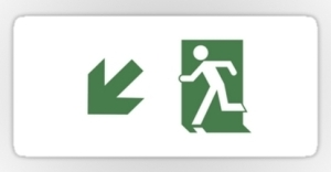 Running Man Exit Sign Sticker Decals 101