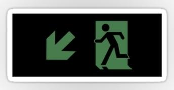 Running Man Exit Sign Sticker Decals 114